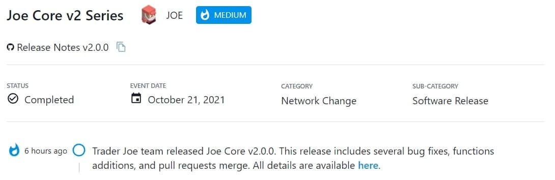 Trader Joe team ra mắt Joe Core v2.0.0
