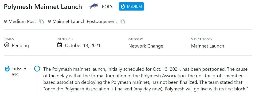 Polymesh mainnet đã bị hoãn
