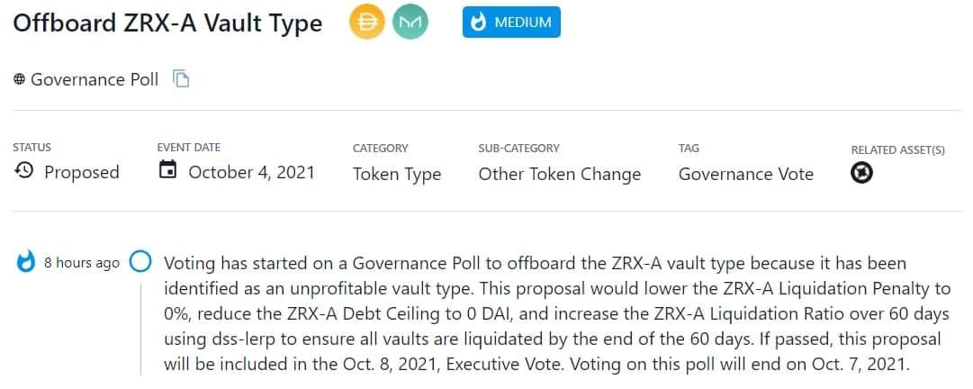 Tiến hành Governance Poll cho ZRX-A vault vì đây là một kiểu vault không sinh lợi nhuận