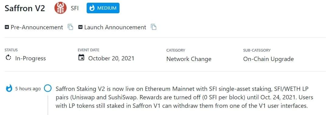 Saffron Staking V2 trực tuyến trên Ethereum Mainnet