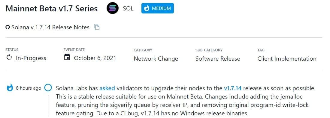 Solana Labs yêu cầu validator nâng cấp các nút lên phiên bản v1.7.14 càng sớm càng tốt