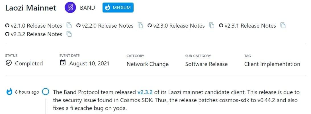 Band Protocol ra mắt v2.3.2 cho Laozi mainnet