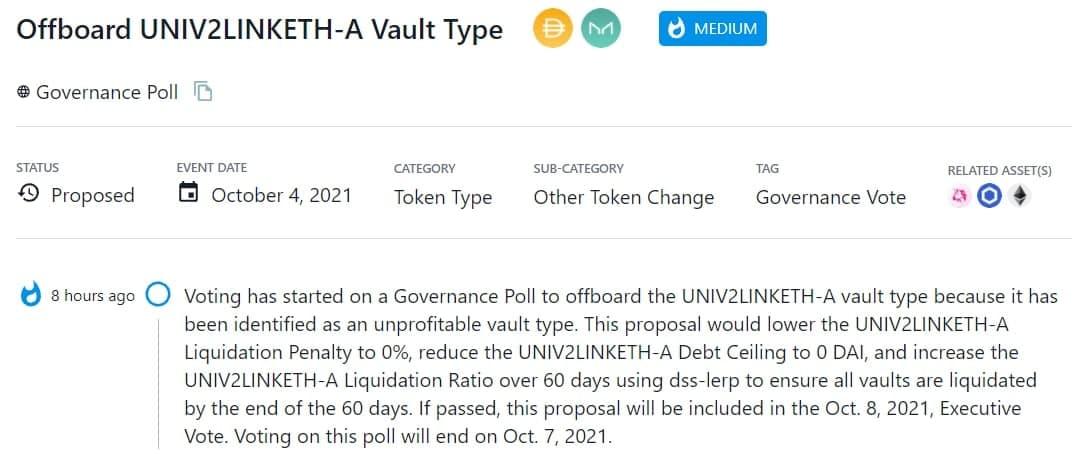 Tiến hành Governance Poll cho UNIV2LINKETH-A vault vì đây là một kiểu vault không sinh lợi nhuận