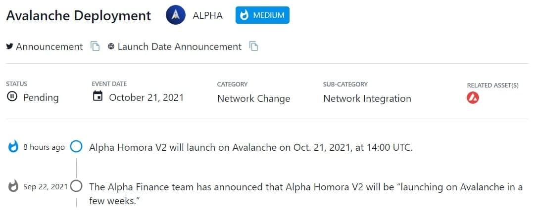 Alpha Homora V2 sẽ ra mắt trên Avalanche