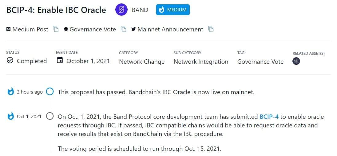 BAND thông qua BCIP-4 cho phép các IBC oracle hoạt động trên mainnet