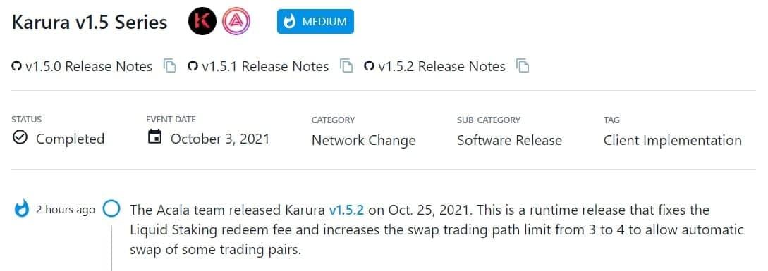 Acala team ra mắt Karura v1.5.2