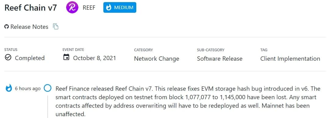 Reef Finance ra mắt Reef Chain v7