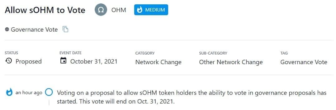 OHM bỏ phiếu nhằm cho phép các sOHM token holder biểu quyết các đề xuất quản trị