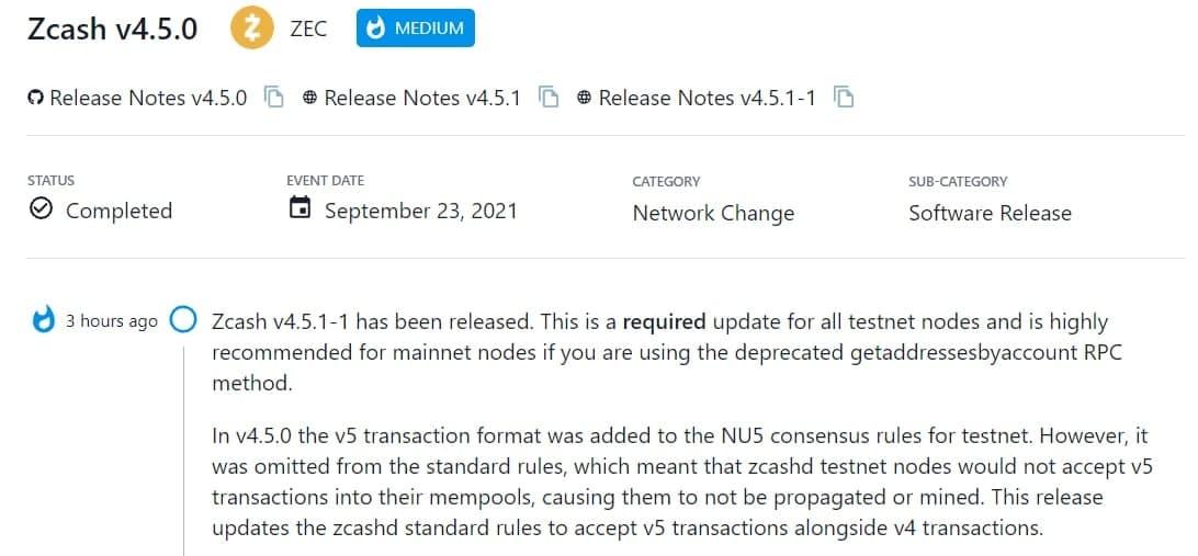 Zcash v4.5.1-1 đã được ra mắt