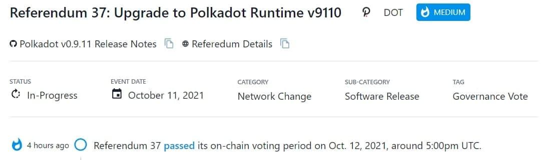 DOT thông qua Referendum 37 vào khoảng 5:00pm UTC 12/10/2021