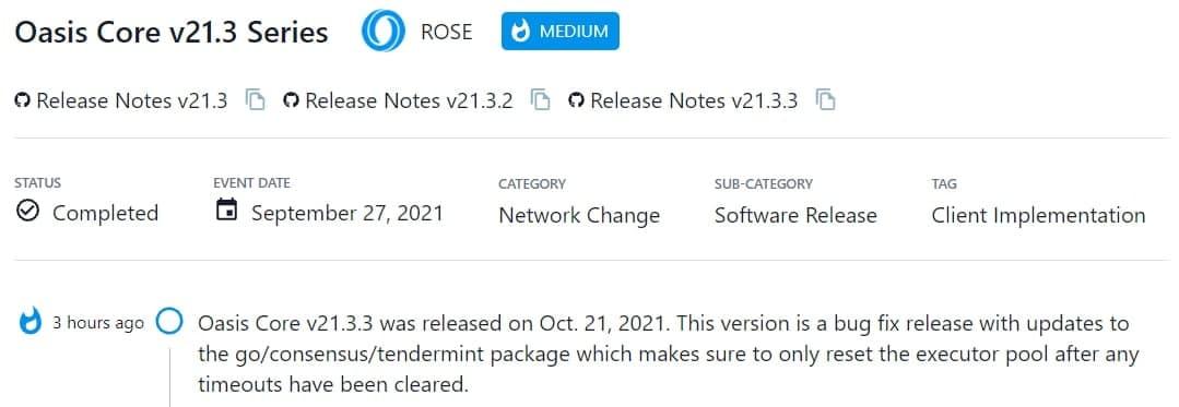 Oasis Core v21.3.3 được ra mắt