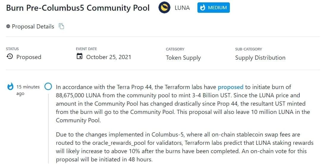 Terraform Labs đề xuất đốt 88.675.000 LUNA từ pool cộng đồng để đúc 3-4 Tỷ UST