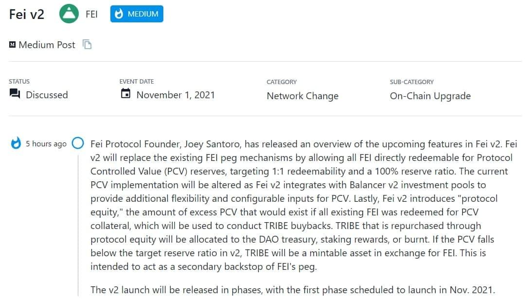 Joey Santoro, Fei Protocol Founder, cho biết đã phát hành tổng quan các tính năng sắp tới trong Fei v2
