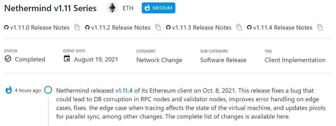 Nethermind ra mắt v1.11.4 cho Ethereum client vào 08/10/2021