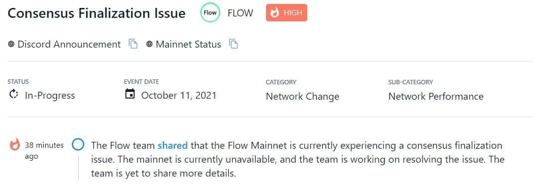 Flow Mainnet hiện đang gặp sự cố hoàn thiện đồng thuận