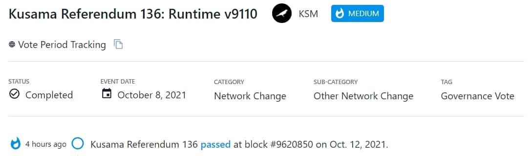 Kusama Referendum 136 thông qua tại block số 9620850