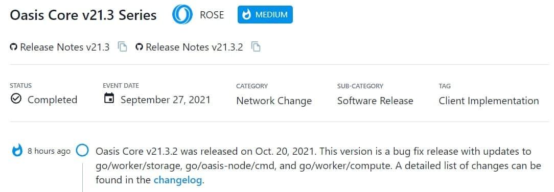 Oasis Core v21.3.2 được ra mắt