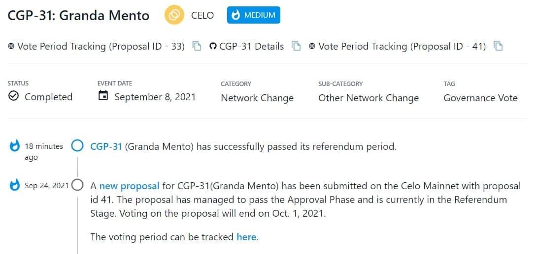 Đề xuất mới cho CGP-31(Granda Mento) với id 41 thông qua giai đoạn trưng cầu dân chủ