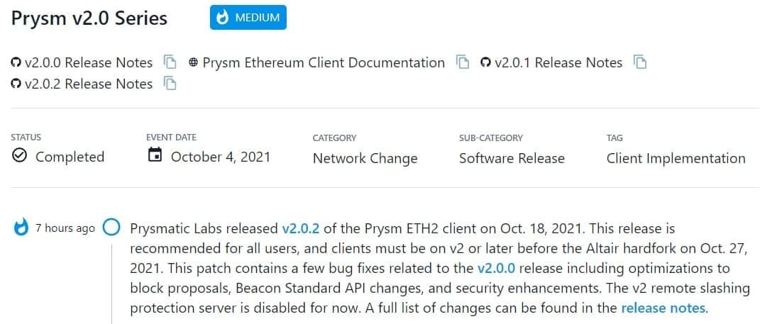 Prysmatic Labs ra mắt v2.0.2 của Prysm ETH2 client