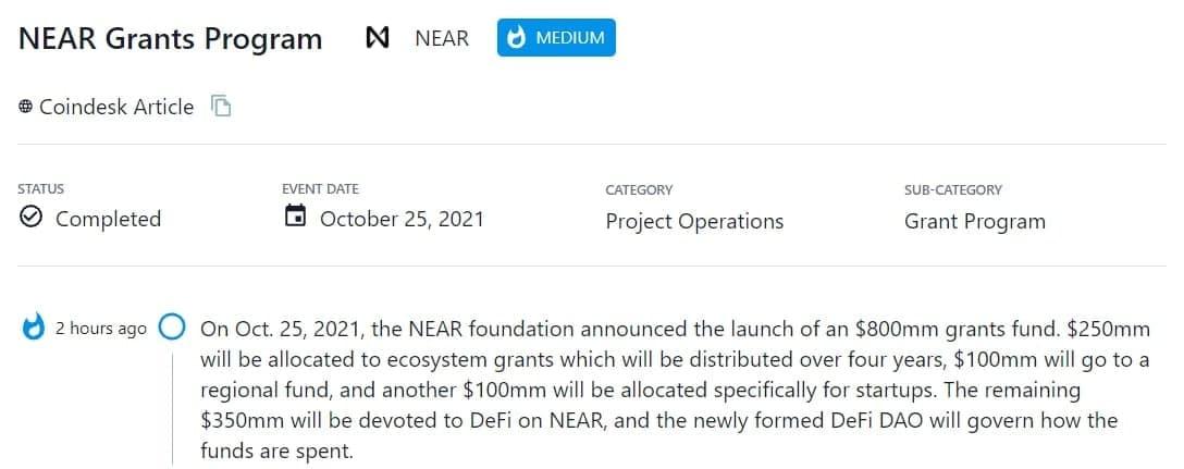 NEAR foundation thông báo triển khai chương trình tài trợ $800 triệu