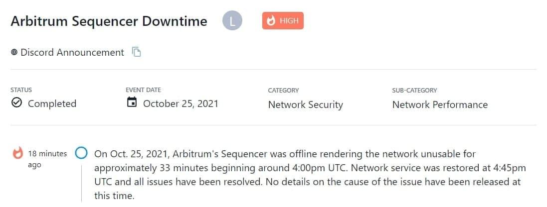 Sequencer của Arbitrum bất ngờ ngoại tuyến